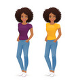 african woman in jeans vector image