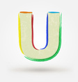 Alphabet letter U Watercolor paint design element vector image vector image