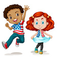 American boy and girl greeting vector image