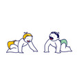 baby couple little boy and girl in diapers crawl vector image