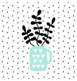 black houseplant branches in mint color vase vector image