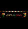 cactus mariachi and bunting cinco de mayo banner vector image