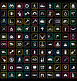 camping 100 icons universal set for web and ui vector image vector image