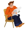 Cartoon man in orange sweater reading newspaper in vector image