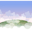 cartoon part of the planet earth in the clouds vector image vector image