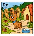 color alphabet for children letter d dog