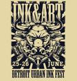 detroit ink fest vintage poster vector image vector image