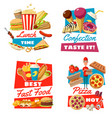fast food and confectionery for lunch time symbols vector image vector image