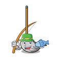 fishing mop mascot cartoon style vector image vector image