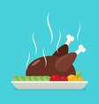 flat baked chicken turkey vector image vector image