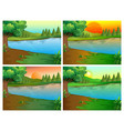 four scenes of river and forest vector image vector image