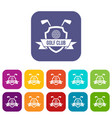 golf club emblem icons set flat vector image vector image