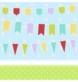 Greeting card with colorful childish bunting flags vector image