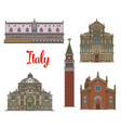 italian travel landmarks of venice linear icon set vector image