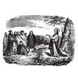jesus preaches to a crowd vintage vector image vector image