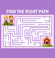 maze game finds the hansel and grettel way to cand vector image vector image
