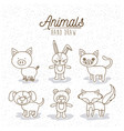 monochrome poster with hand drawn animals vector image vector image