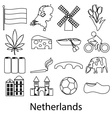 Netherlands country theme outline symbols icons vector image vector image