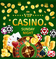 online casino gambling with roulette and poker vector image vector image