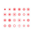 pain circles red target icons set vector image