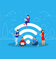 people in free internet zone working vector image