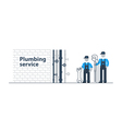 Plumber at work with tools in basement vector image vector image