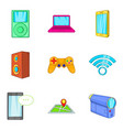 portable device icons set cartoon style vector image vector image