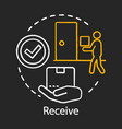 receive concept chalk icon shipping service vector image vector image