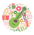 round composition acoustic guitar vector image vector image