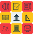 set of 9 school icons includes opened book vector image vector image