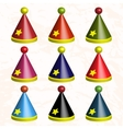 Set of colorful party hats vector image vector image