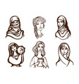 set of images of girls - ukrainian indian arab vector image