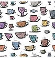 Set of ornate mugs Seamless pattern for your vector image vector image