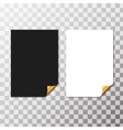 Set Of Paper Sheets With Golden Curled Corner vector image vector image