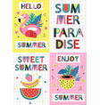 set summer paradise cards part 1 vector image vector image