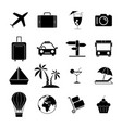 set travel holiday black icons vector image vector image