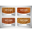 set wooden gift cards vector image