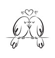 silhouette cute birds in love doodle style vector image