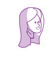 silhouette happy cute woman face with hairstyle vector image vector image