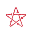 Star icon with arrows with hand drawn lines vector image