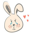 the face a hare shedding tears against red vector image vector image