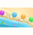 tropical beach in paper art style top view vector image