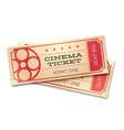 two cinema or theater realistic tickets with vector image