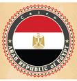 vintage label cards egypt flag vector image