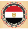 Vintage label cards of Egypt flag vector image
