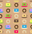 seamless pattern with coffee and chocolate glazed vector image