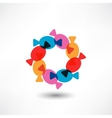 Candys in a wrapper in colored circle vector image