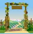 old wooden farm gate with signboard grapes and vector image