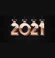 2021 happy new year greeting card 3d gold style vector image