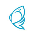abstract fish symbol icon vector image vector image